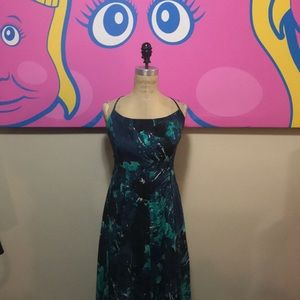 Free People Backless Maxi Dress Blue Green Lace Up
